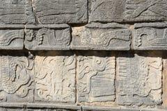 Mayan stone frieze at Chichen Itza Stock Photos