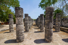 Mayan stone pillars. Stock Photo