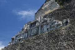 Mayan Stonework on Xunantunich Temple Stock Images