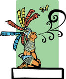 Mayan Storyteller. With speech scroll coming from his mouth and butterfly Stock Photography