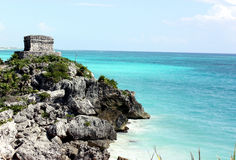Mayan structure & carribean sea Stock Photo