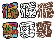 Mayan style glyphs. Mayan spot illustrations, with variations Stock Images