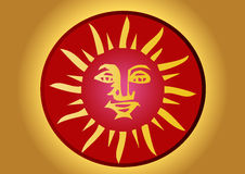 Mayan sun. A illustration of a mayan coin with a sun Stock Illustration