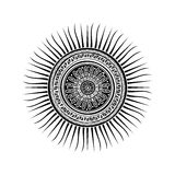 Mayan sun symbol. Tattoo design over white background Royalty Free Stock Image
