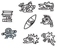 Mayan symbolen, groot kunstwerk voor tatoegeringen Stock Fotografie