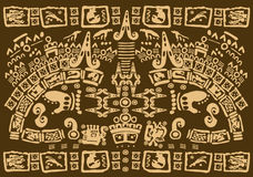 Mayan symbols. A pattern consisted of different ornamental tribal elements symbolizing various aspects of Mayan culture Stock Photos
