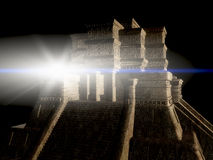 Mayan Tempel bij Nacht Stock Afbeelding
