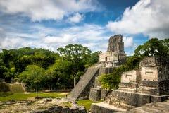 Mayan tempel II på den Tikal nationalparken - Guatemala Arkivbild