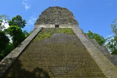 Mayan tempel Nr vijf in Tikal, Guatemala Stock Afbeelding