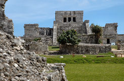 Mayan Tempel in Tulum, Mexico stock foto
