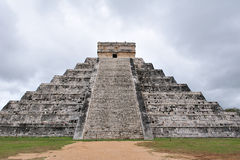 Mayan temple of chichen itza 2. The image describes the famous mayan temple of chichen itza, the pyramid is the highest among all and impressive archaeological royalty free stock photo