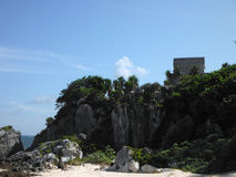 Mayan Temple on Cliff at the Caribbean Sea in Tulum Royalty Free Stock Photos
