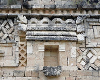Mayan temple detail in Uxmal Stock Photo