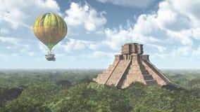 Mayan temple and fantasy hot air balloon Royalty Free Stock Photography