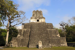 Mayan temple of the Jaguar in Tikal, Guatemala. Not far from the border with Belize Royalty Free Stock Photo