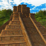 Mayan Temple in Jungle. Digital rendering of a Mayan structure Stock Photo