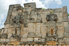 Mayan Temple in Kabah Yucatan Mexico. Detail of the ruins of the facade of a Mayan temple Stock Photos