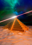 Mayan temple and light effect. A 3d render of a Mayan temple with light effects emanating from the top Stock Photography