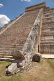 Mayan temple stairs with carved snake head at the base Stock Image