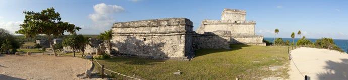 Mayan Temples at Tulum (panoramic) royalty free stock photo