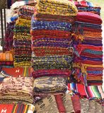 Mayan Textiles. Colorful Native American Mayan textiles for sale at an outdoor market Stock Image