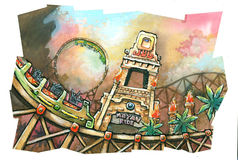 Mayan theme park roller coaster. Water color and gouache paint. Illustration of theme park roller coaster in Mayan theme design stock illustration
