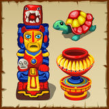 Mayan totem, the turtle and decorative vase Royalty Free Stock Image