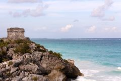 Mayan Tower above the Ocean at Tulum Stock Photos