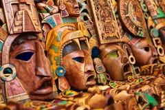 Mayan trähandcrafted maskeringar Arkivbild
