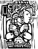 mayan träsnitt för stil 3 stock illustrationer