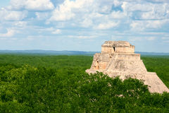 Mayan Uxmal. Old antique mayan site with round pyramid stock photos