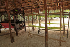 Mayan villagers weaving loom Stock Image