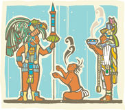 Mayan Warrior, Captive and Priest. Traditional Mayan Mural image of a Mayan Warrior, sacrifice and priest Royalty Free Stock Photos