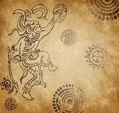 Mayan warrior on old paper Stock Images
