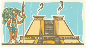 Mayan Warrior and Pyramid Royalty Free Stock Photos