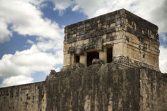 Mayan watchtower in ancient ruins in Mexico stock photography