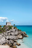 Mayan watchtower Tulum Royalty Free Stock Photography