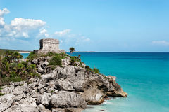 Mayan watchtower Tulum Stock Photo