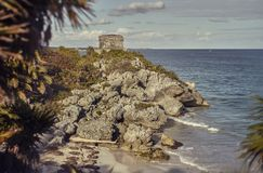 Mayan watchtower in Tulum, Mexico royalty free stock photo