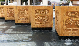 Mayan water fountains Royalty Free Stock Photos