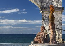Cross Breeding Monument Aztec Warrior Mayan Woman Cozumel Mexico Waterfront stock photography