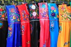 Mayan woman dress embroidery Yucatan Mexico Stock Photos