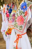 Mayan woman dress embroidery Yucatan Mexico Stock Images