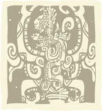 Mayan Woodblock Vision Serpent Royalty Free Stock Photo
