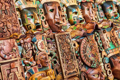 Mayan wooden handcrafted masks Royalty Free Stock Photos