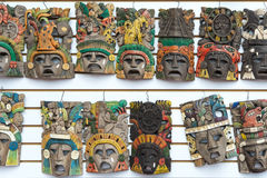 Mayan wooden handcrafted masks Royalty Free Stock Image