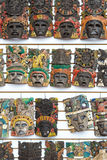 Mayan wooden handcrafted masks Stock Photo