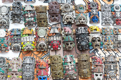 Mayan wooden handcrafted masks Royalty Free Stock Images