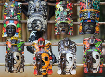 Mayan Wooden Masks Royalty Free Stock Photography