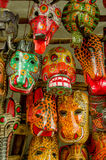 Mayan wooden masks guatemala market Royalty Free Stock Photos